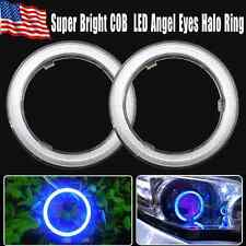 2x 60mm Angel Eyes Halo Ring 66 COB LEDs Ultra Blue Headlight & Fog Housing Lamp