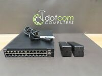 Dell X1026 E10W 24-Port Ethernet Networking Switch MM39Y w/ Rackmounts & PS
