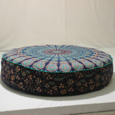 "Indian 35X6"" Round Blue Multi Mandala Floor Pillow Cushion Pouf Dog Pet Cover"
