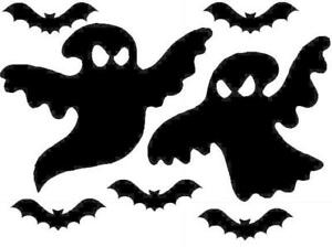 2 Haloween Ghost and Bat Stickers, lots of colours avaliable, decoration, party