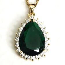 """Emerald Green Teardrop Large Pendant Necklace 14k Gold Plated Chain 18"""" YE61"""