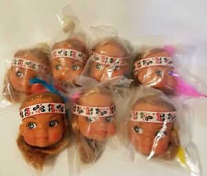 """Lot of 7 Craft 2"""" Vinyl Doll Heads Strawberry Blonde Indian Native American Girl"""