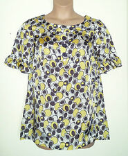 NEXT TAUPE BROWN MUSTARD SHORT FRILLED SLEEVE SILKY LONG TUNIC TOP 16