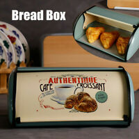 French Retro Metal Bread Box Bin Cafe Kitchen Storage Containers Roll Top