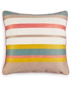 "Martha Stewart Butternut Stripe 18"" x 18"" Square Decorative Pillow Bedding E776"