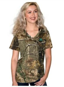 Realtree AP Women's/Ladies Camo Short Sleeve V-neck T-Shirts: S-2XL