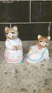 OCI Omnibus Cat Salt Pepper Shakers Brown Wearing Dresses Vintage Ceramic