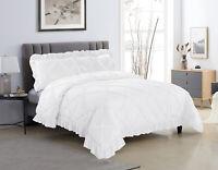 HIG 3 Piece Comforter Set Diamond Pinch Pleat Scallop Fringe KANTA Bedding Set