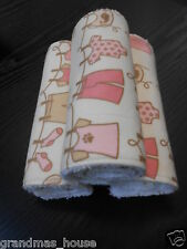 Burp Cloths - Baby Clothes - Pink - Set of 3 - Towelling Backed GREAT GIFT!!