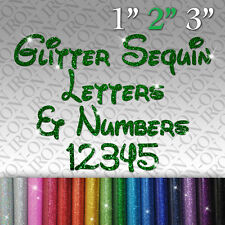 Glitter Letters & Numbers IRON-ON FABRIC TRANSFER SEQUIN Custom Sticker Disney `