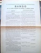 1936 MANIFESTO VENDITA DI TERRENI A COTIGNOLA RAVENNATE