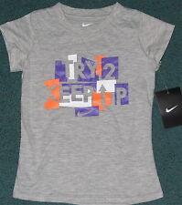 NWT Nike Girls 6X Gray/Purple/Orange/White TRY 2 KEEP UP Shirt 6X