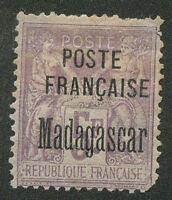 FRANCE MADAGASCAR Yvert # 22 Mint Hinged  (upper right corner broken)