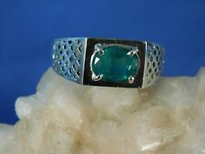 Gents 1.48 ct. Oval Emerald Custom Sterling Silver Lattice Ring May Birthstone