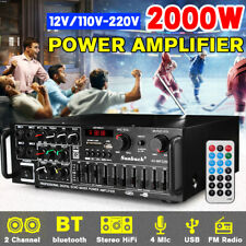 110V/12V 2000W Pro 2Ch  AMP bluetooth Home Stereo Amplifier FM Radio SD USB US