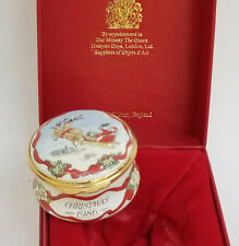 Halcyon Days Smithsonian Institution 1986 Christmas Enamel Trinket Box w/ Box