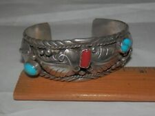 Vintage Native American Navajo sterling Turquoise Cuff Bracelet,Old Pawn signed