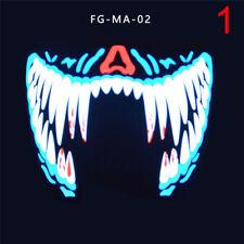 LED lumineux clignotant visage partie masques lumière danse Halloween cosplay 9H