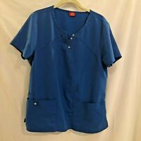 Dickies Womens Scrubs Top Bright Blue Size Medium