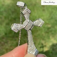925 Solid Sterling Silver Large Cross Cubic Zirconia Pave Necklace Jewellery