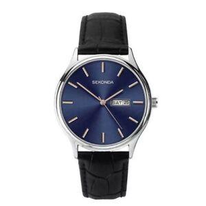 Sekonda 1701 Gents Analogue Day/Date Blue Dial Black Strap Watch RRP £49.99