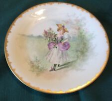 Antique Limoges Wm Guerin CABINET PLATE YOUNG WOMAN with FLOWERS Gold Gilt