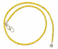 "925 Silver Necklace Yellow Zircon Stone 3mm Round Cut Beads 12-45"" Strand OL1144"