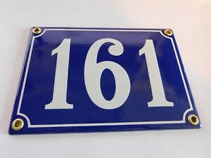 Antique French Blue  Genuine Enamel Porcelain House Door Number Sign / Plate 161
