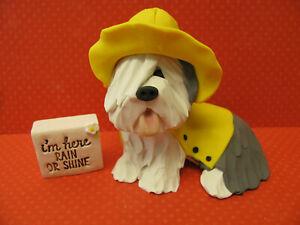 "Handsculpted Old English Sheepdog ""I'm Here Rain or Shine"" Dog Figurine 2 pc"