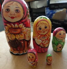 Superb Quality girl with suflower Russian Nesting Doll 5 Pcs Large 5.8*