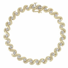 "28ctw Round Brilliant Diamond Bracelet 6 3/4"" - 14k Yellow Gold Link"