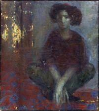 "Russian Ukrainian Soviet Oil Painting ""Girl with hat"""