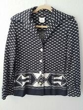 Bodin Knits 1970s Size 8 Vintage Black And White Aztec Print Jacket Sweater.