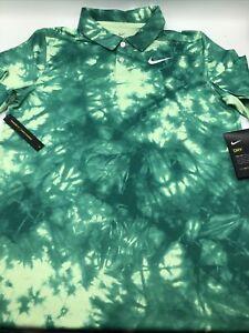 Nike Boy's Small Dri-FIT Tie-Dye Printed Golf Polo Vapor Green/White CK0990 New