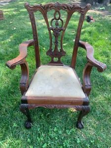 Vintage Chippendale Style Mahogany Childs Doll Accent Chair Ball & Claw
