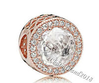 Authentic Pandora Charm 781725 Rose Gold Radiant Hearts Clear CZ Bead #GZ