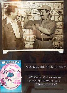 """RARE photographie """" W.DISNEY & J.COLONNA """" - 1946  - envoi et dédicace par Jerry"""
