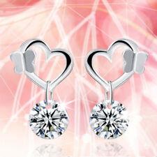 Shiny 925 Sterling Silver Plated Butterfly Heart Cubic Zirconia CZ Drop Earrings