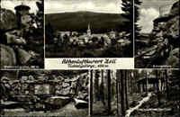 ZELL im Fichtelgebirge Bayern um 1960/70 s/w Mehrbildkarte mit 5 alten Ansichten