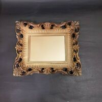 Vintage Egyptian Hand Carved Ornate Wood Frame Wall Hanging Rectangle Mirror