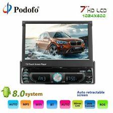"Podofo Single Din Android 8.0 Multimedia Receiver w/7"" Retractable Touch Screen"