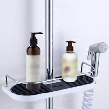 Punch Free Bathroom Shelf Shower Pole Storage Caddy Rack Organiser Tray Holder