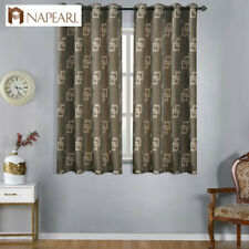 NAPEARL 1 Panel Geometric Manufactured Shade Short Drapes Plaid Jacquard Curtain