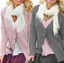 Button Cotton Patternless Jumpers & Cardigans for Women