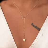 Fashion Womens Long Chain Heart Silver Gold Plated Charm Necklace Pendant Gift
