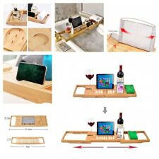 Bamboo Bathtub Caddy Trays For Cloth Book Pad Tablet Holder Racks Accessories