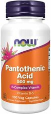 Vitamin B-5, Pantothenic Acid, 500mg x 100 Capsules - NOW Foods, FREE P&P