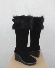 UGG BLACK VALBERG SUEDE/ TOSCANA SHEEPSKIN WEDGE BOOTS, WOMEN US 8/ EUR 39 ~NEW