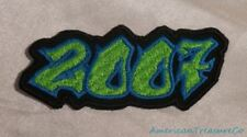Embroidered 00s Hip Hop Graffiti Style Lime Green & Blue 2007 Year Patch Iron On