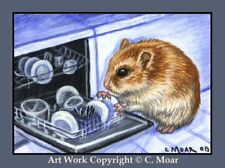 HAMSTER HOMEMAKERS Dishwasher ACEO Art Limited Edition Sketch Card Print
